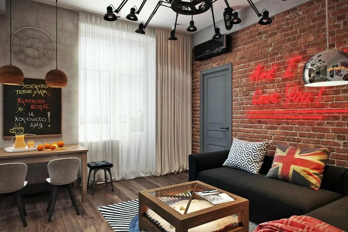 лофт для маленькой квартиры декор фото