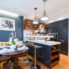 маленькая кухня гостиная фото интерьера