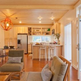 маленькая кухня гостиная интерьер фото