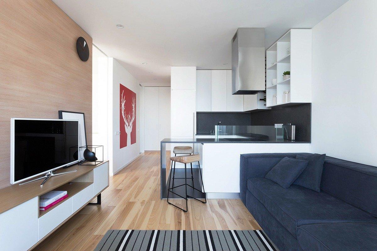 маленькая кухня гостиная оформление фото