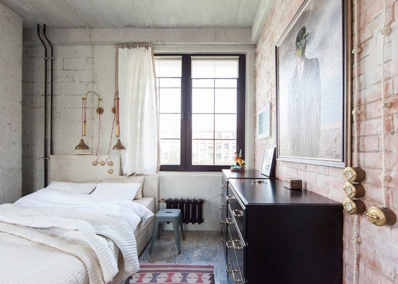 Дизайн маленькой спальни с элементами лофта