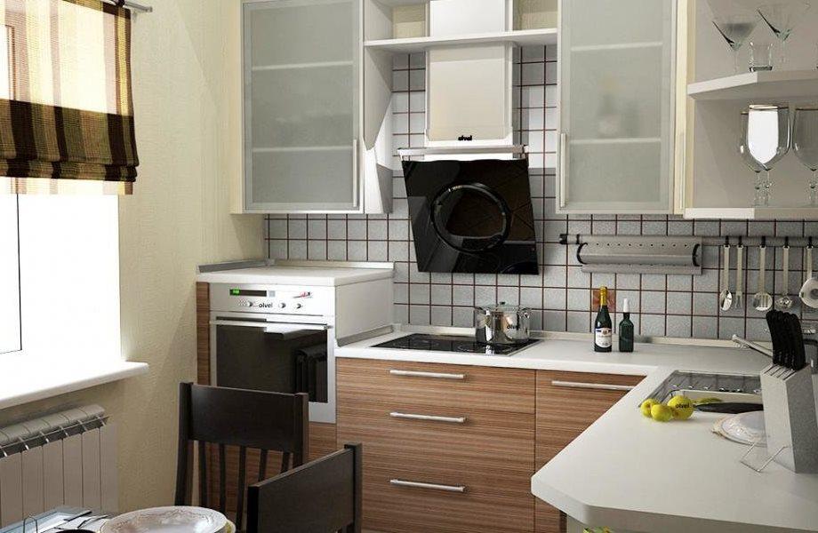 Г-образный гарнитур в небольшой кухне