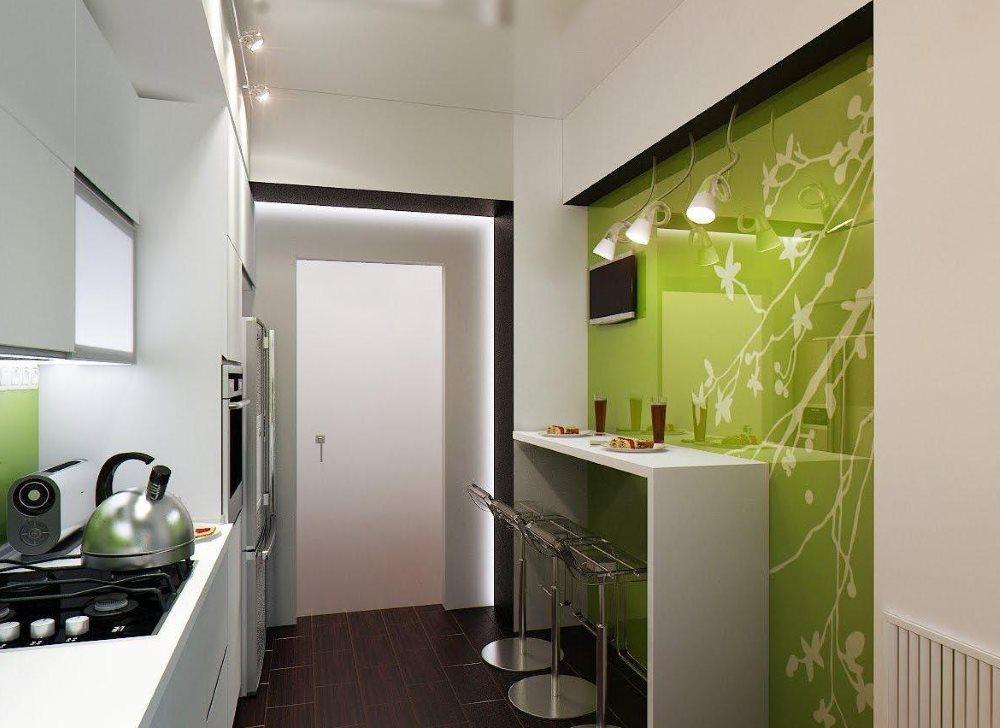 Дизайн маленькой кухни узкой формы