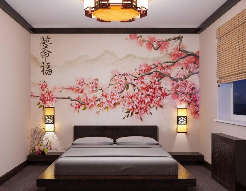 Бамбуковые шторы на окне спальни в японском стиле