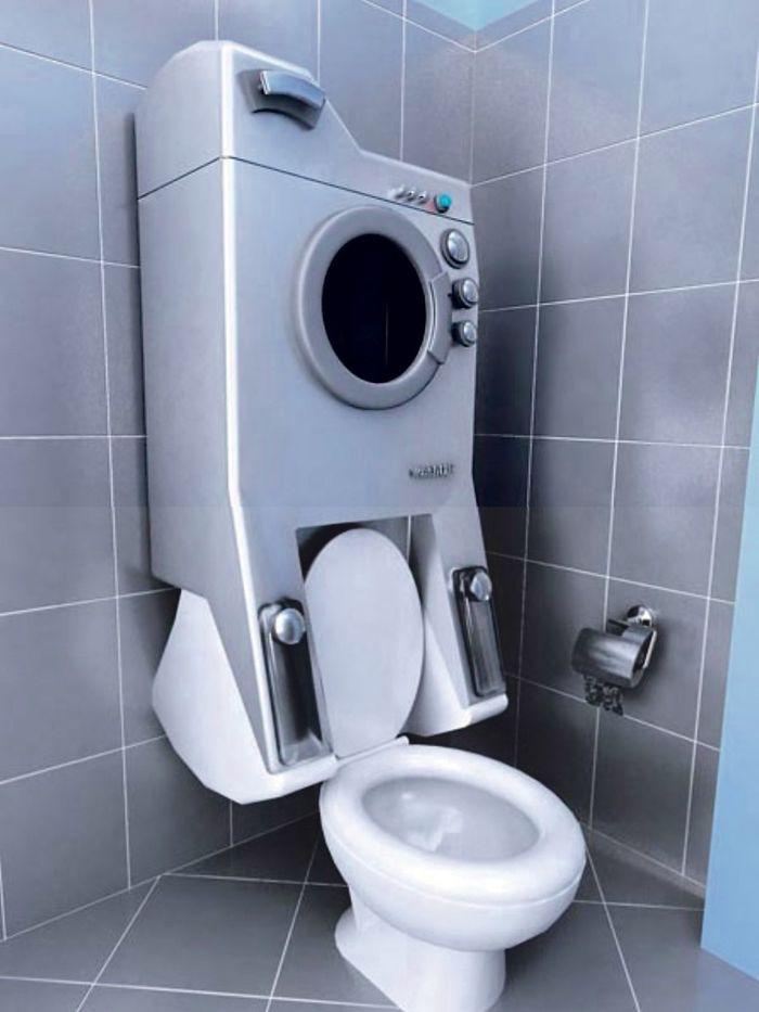 Малогабаритная стиральная машинка над унитазом