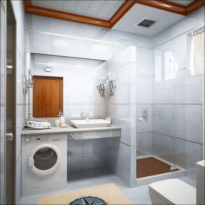 Душевая кабинка в ванной со стиральной машиной