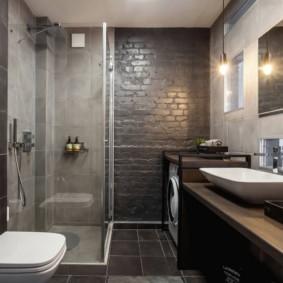 Серые стены в ванной современного стиля