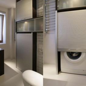 Шторка над стиральной машинкой в ванной
