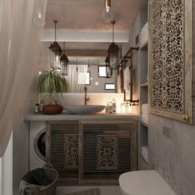 Скрытое размещение стиральной машинки в ванной восточного стиля