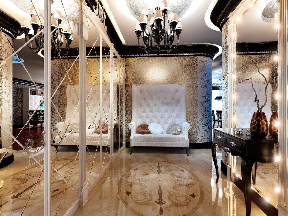 Зеркальные стены в прихожей стиля арт деко