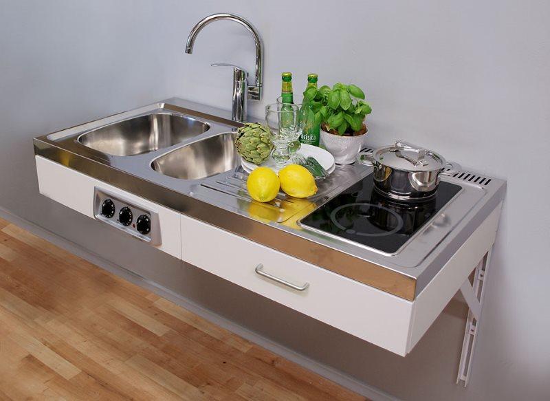 Подвесная мини-кухня с плитой и мойкой