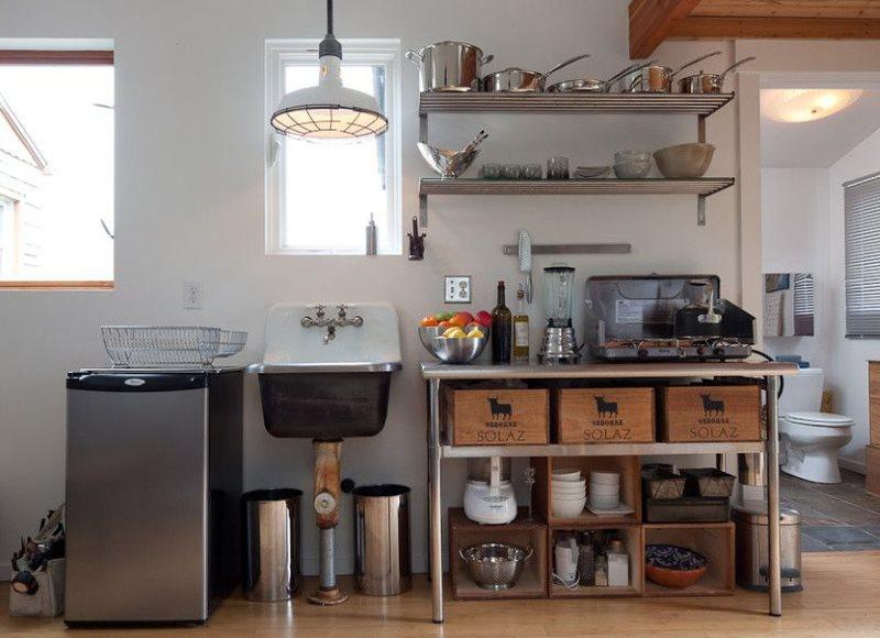 Мини кухня в интерьере загородного дома