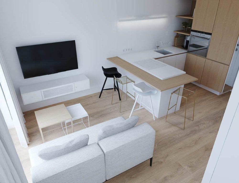Дизайн квартиры-студии в стиле минимализма