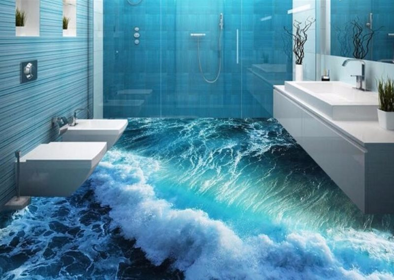 Ванная комната с 3d наливным полом