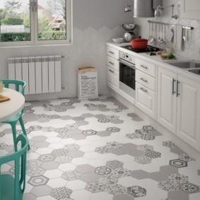 напольная плитка для кухни и коридора фото интерьер
