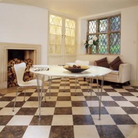 напольная плитка для кухни и коридора фото оформления