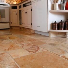 напольная плитка для кухни и коридора оформление фото