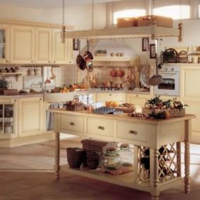 напольное покрытие для кухни фото интерьер