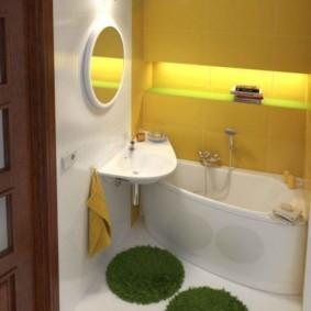 раздельная ванная комната с угловой ванной