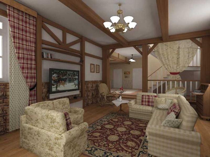 Дизайн гостиной в стиле немецкого кантри