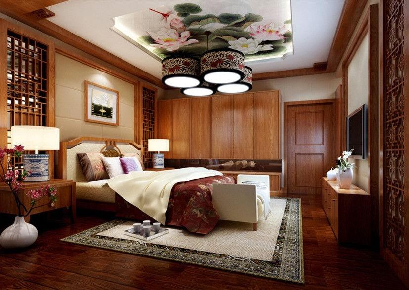 Светильник на потолке спальной комнаты в китайском стиле
