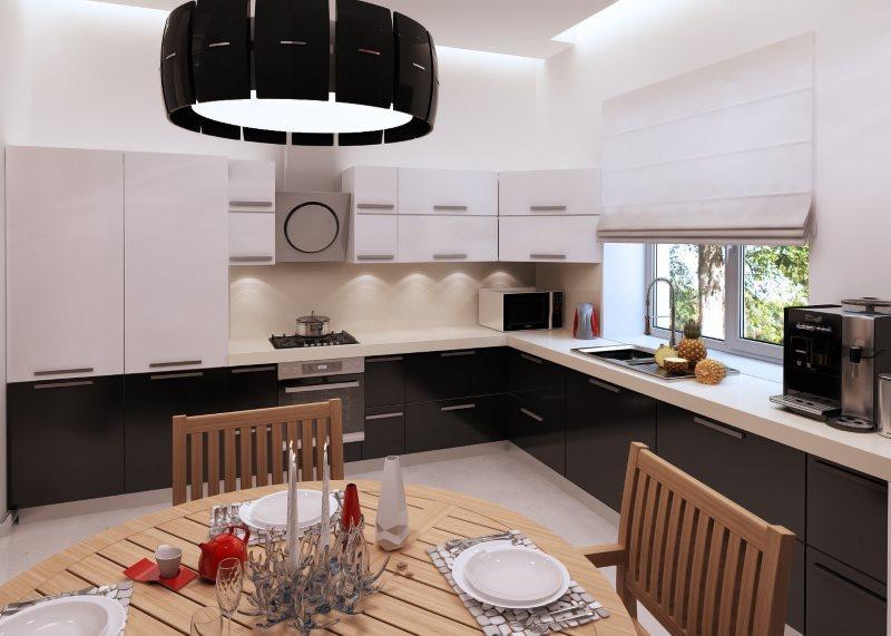 Черный плафон подвесного светильника над кухонным столом