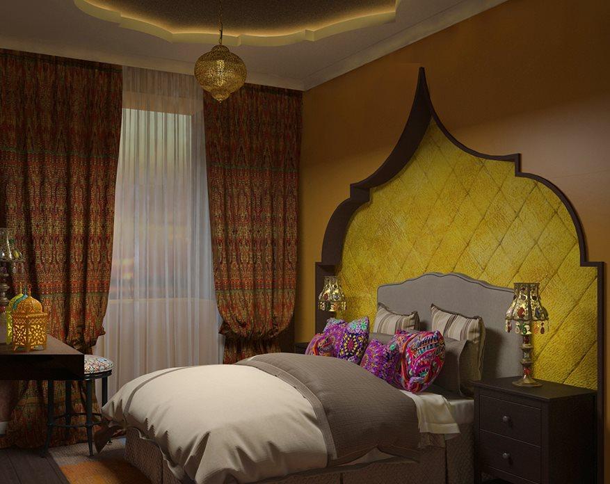 Декор нишей спальни в восточном стиле