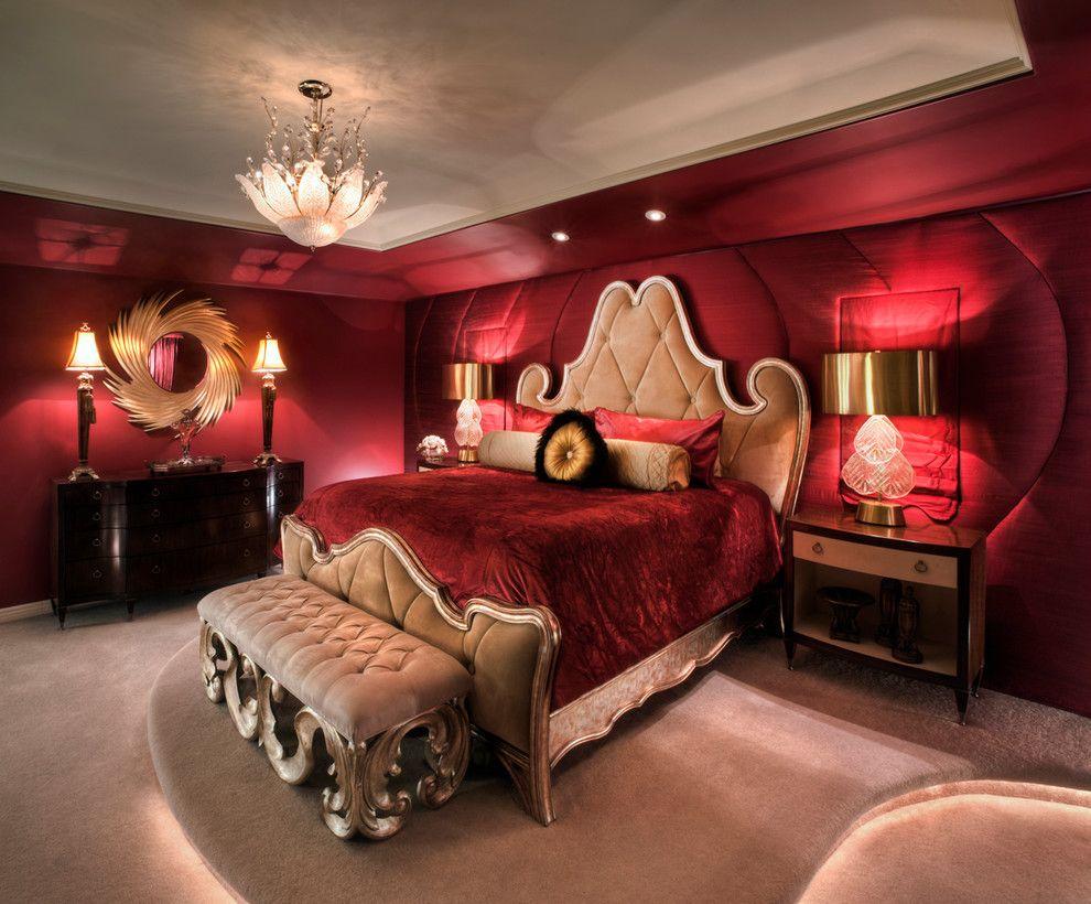 Интерьер спальни с тканевыми обоями