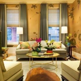 обои для современной гостиной фото декора
