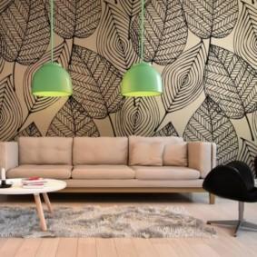 обои для современной гостиной идеи дизайн