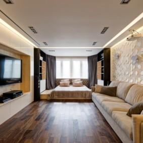 однокомнатная квартира с кроватью и диваном декор фото