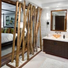 однокомнатная квартира с кроватью и диваном дизайн фото