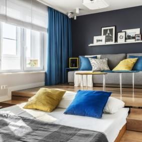 однокомнатная квартира с кроватью и диваном дизайн идеи