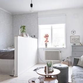 однокомнатная квартира с кроватью и диваном фото декора
