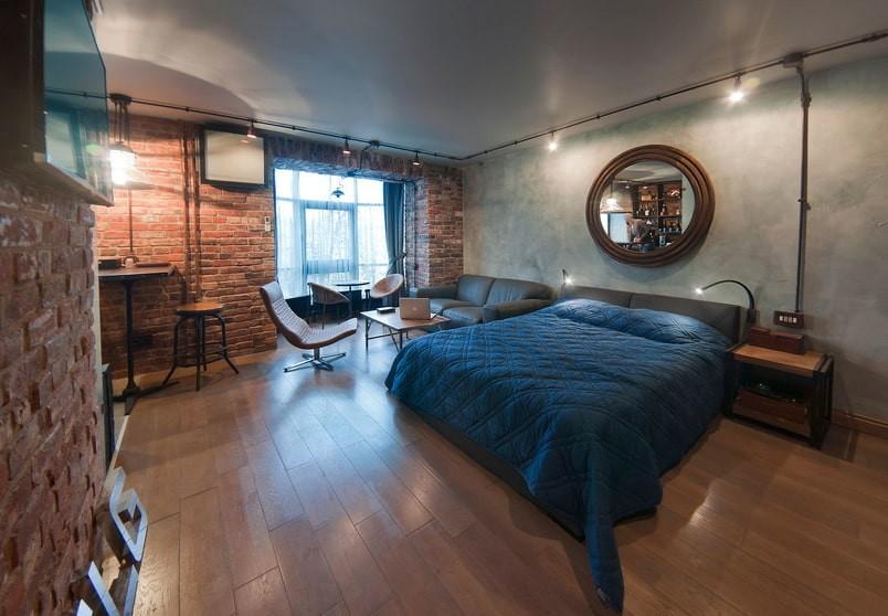 однокомнатная квартира с кроватью и диваном фото оформления