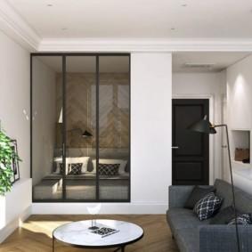 однокомнатная квартира с кроватью и диваном фото вариантов