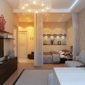 однокомнатная квартира с кроватью и диваном фото видов