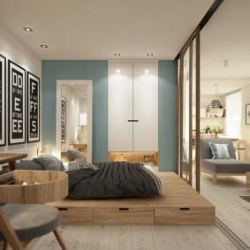однокомнатная квартира с кроватью и диваном фото виды