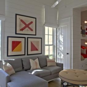 однокомнатная квартира с кроватью и диваном идеи декор