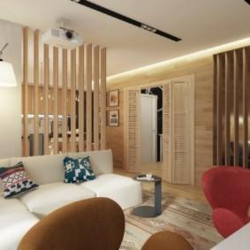 однокомнатная квартира с кроватью и диваном идеи оформления
