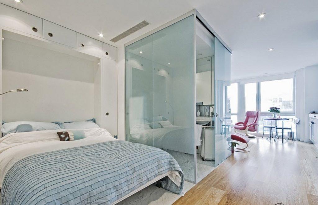 однокомнатная квартира с кроватью и диваном идеи виды