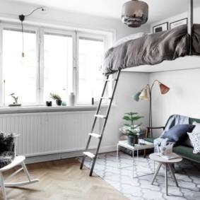 однокомнатная квартира с кроватью и диваном оформление