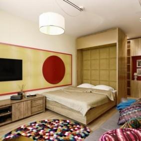 однокомнатная квартира с кроватью и диваном оформление идеи