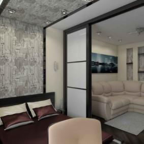 однокомнатная квартира с кроватью и диваном варианты
