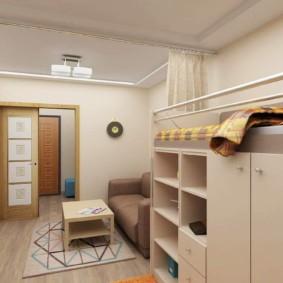 однокомнатная квартира с кроватью и диваном варианты фото