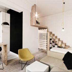 однокомнатная квартира в стиле лофт декор фото