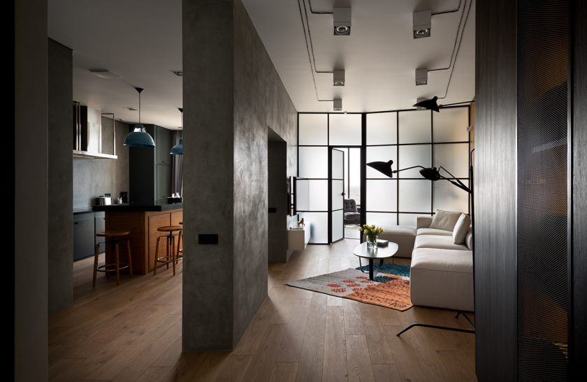 однокомнатная квартира в стиле лофт идеи интерьер