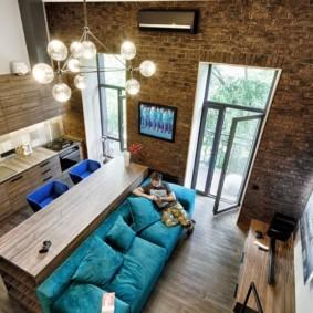 однокомнатная квартира в стиле лофт интерьер