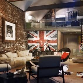 однокомнатная квартира в стиле лофт интерьер фото