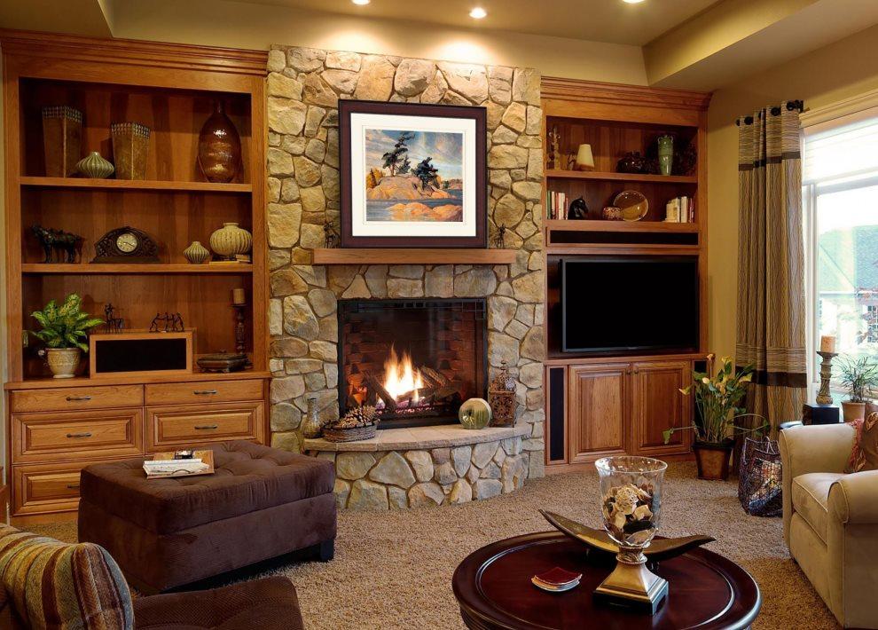 Каменная отделка камина в гостиной комнате